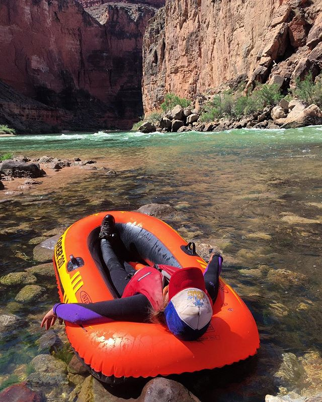 Happy Birthday 100th birthday to our beloved Grand Canyon. Thank you for not swallowing us alive. I hope you got a good laugh at how lame we looked hitting rapids in these dinky Explorer 200's.  Thank you for one of the most memorable outdoor experiences of my life. @lisolarney my best girl soaking up the sun. 😍