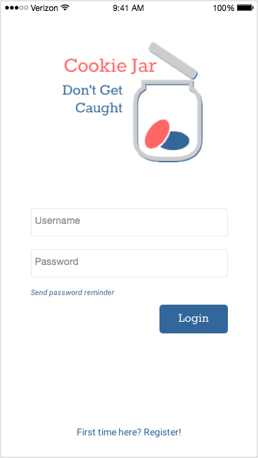 Sketch mockup of mobile layout login screen