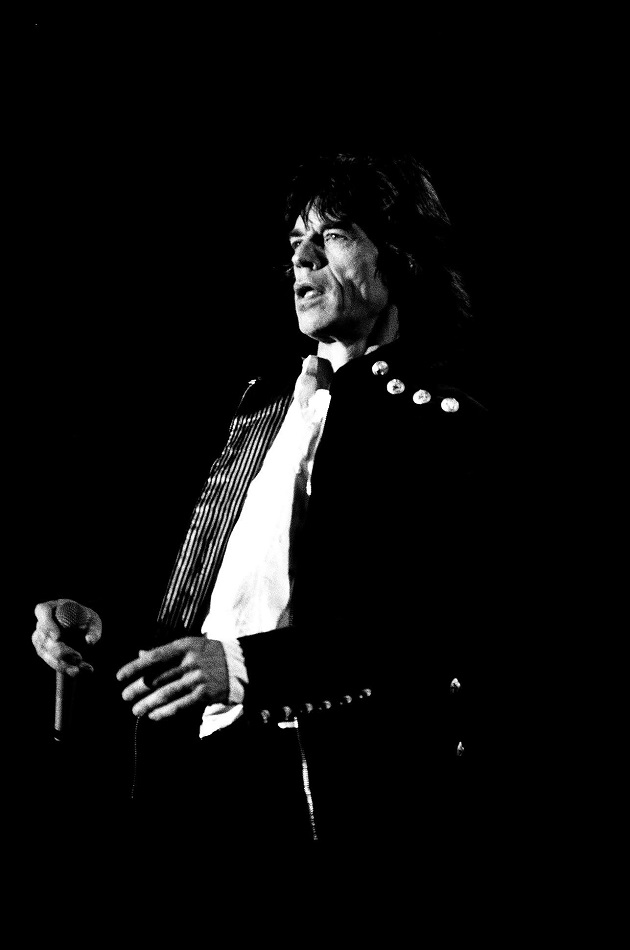 Mick Jagger, The Rolling Stones' Voodoo Lounge Tour, Denver's Mile High Stadium, September 1994. Photo by Greg Worthen.