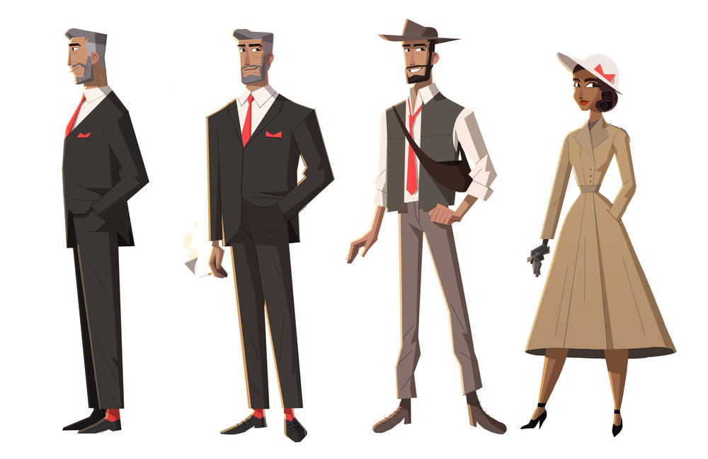 Lineup of major characters. The younger version of the Marlboro Man was meant to be an Indiana Jones inspired character, while the older version of him is a take on The Most Interesting Man in the World.