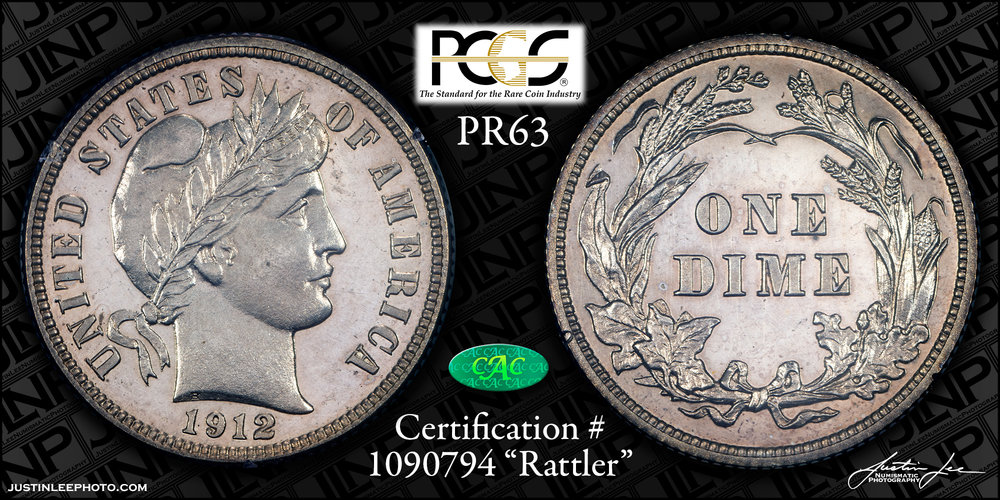 1912 Proof Barber Dime PCGS PR63 CAC