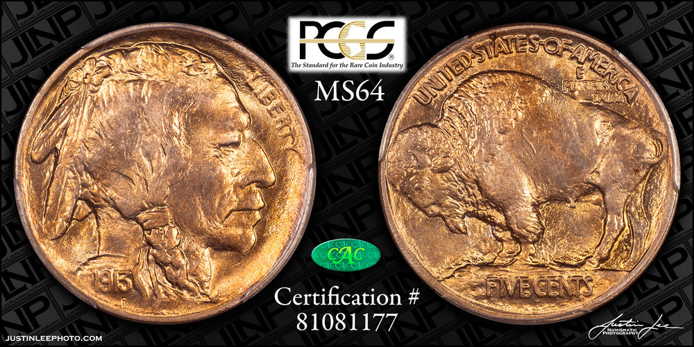 1913 Type 1 Buffalo Nickel PCGS MS64 CAC
