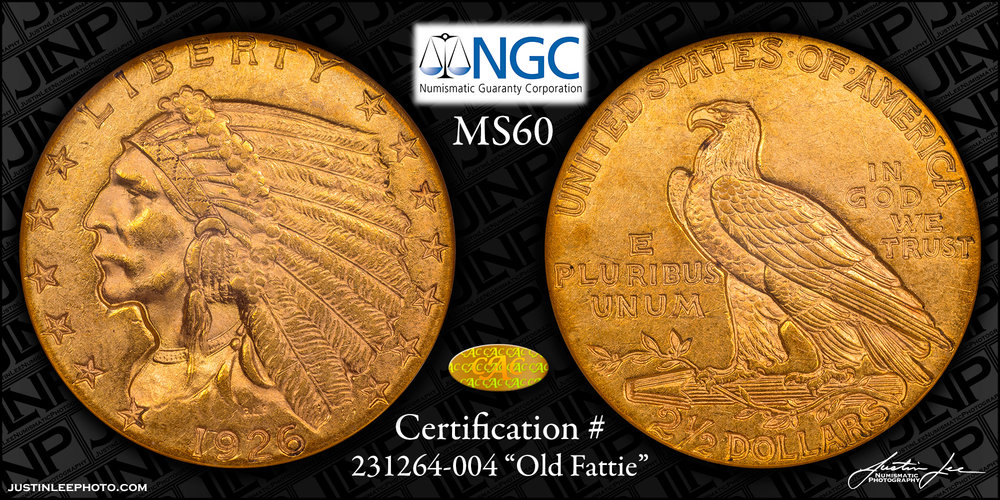 1926 Indian Quarter Eagle NGC MS60 Gold CAC