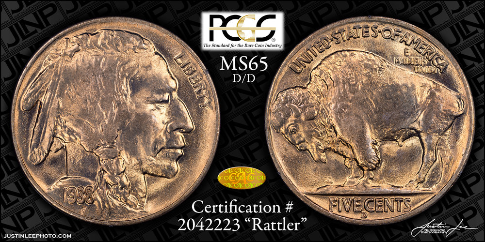 1938-D/D Buffalo Nickel PCGS MS65 Gold CAC