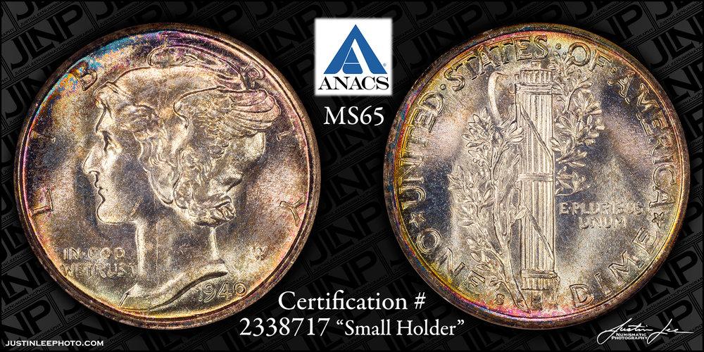 1940-S Mercury Dime ANACS MS65