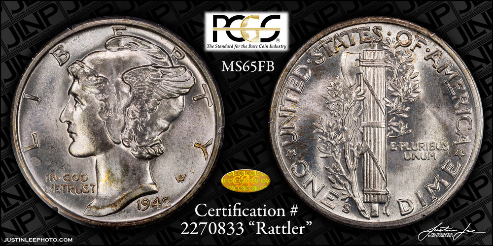 1942-S Mercury Dime PCGS MS65FB Gold CAC