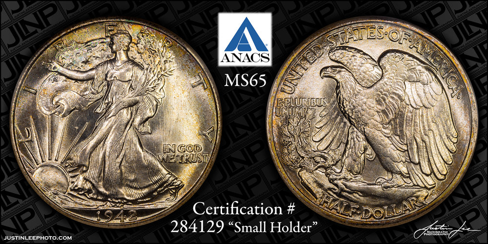1942 Walking Liberty Half Dollar ANACS MS65