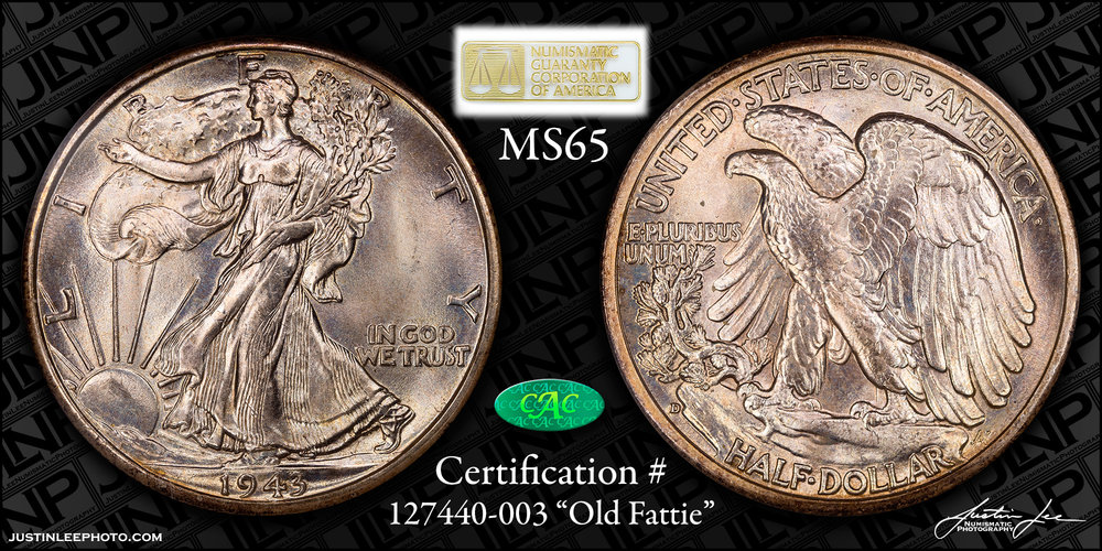 1943-D Walking Liberty Half Dollar NGC MS65 CAC