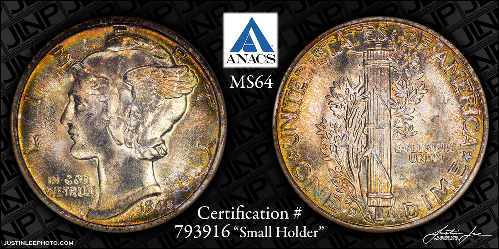 1945-D Mercury Dime ANACS MS64