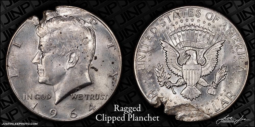 1964 Kennedy Half Dollar Ragged Clipped Planchet Raw