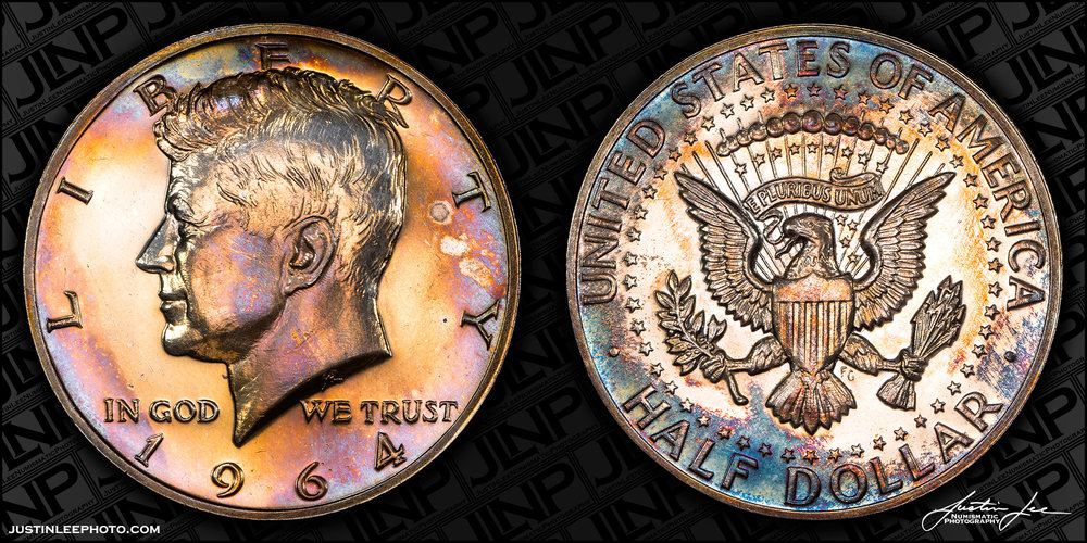 1964 Proof Kennedy Half Dollar Accented Hair Raw