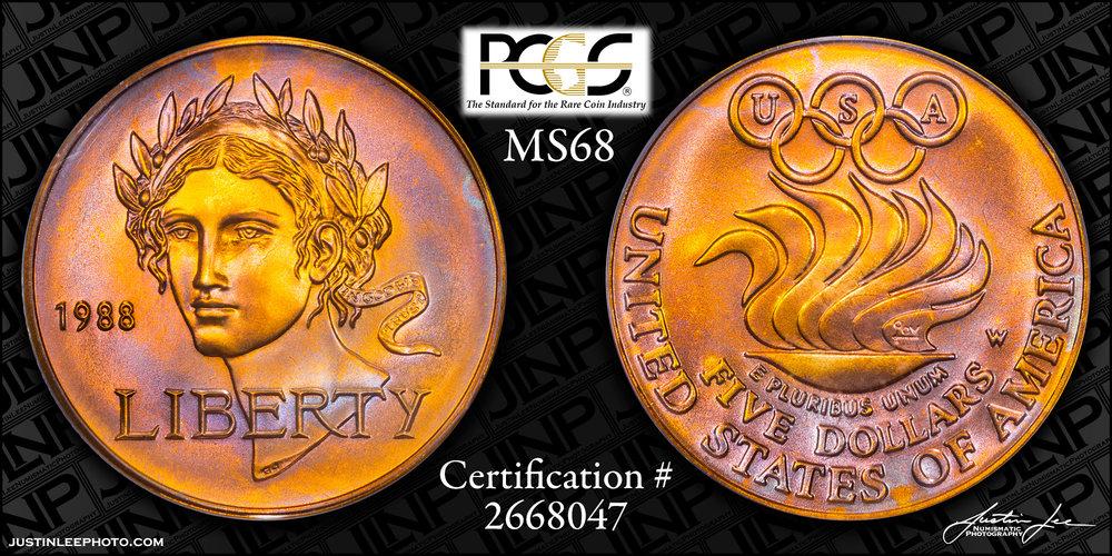 1988 Olympic $5 PCGS MS68