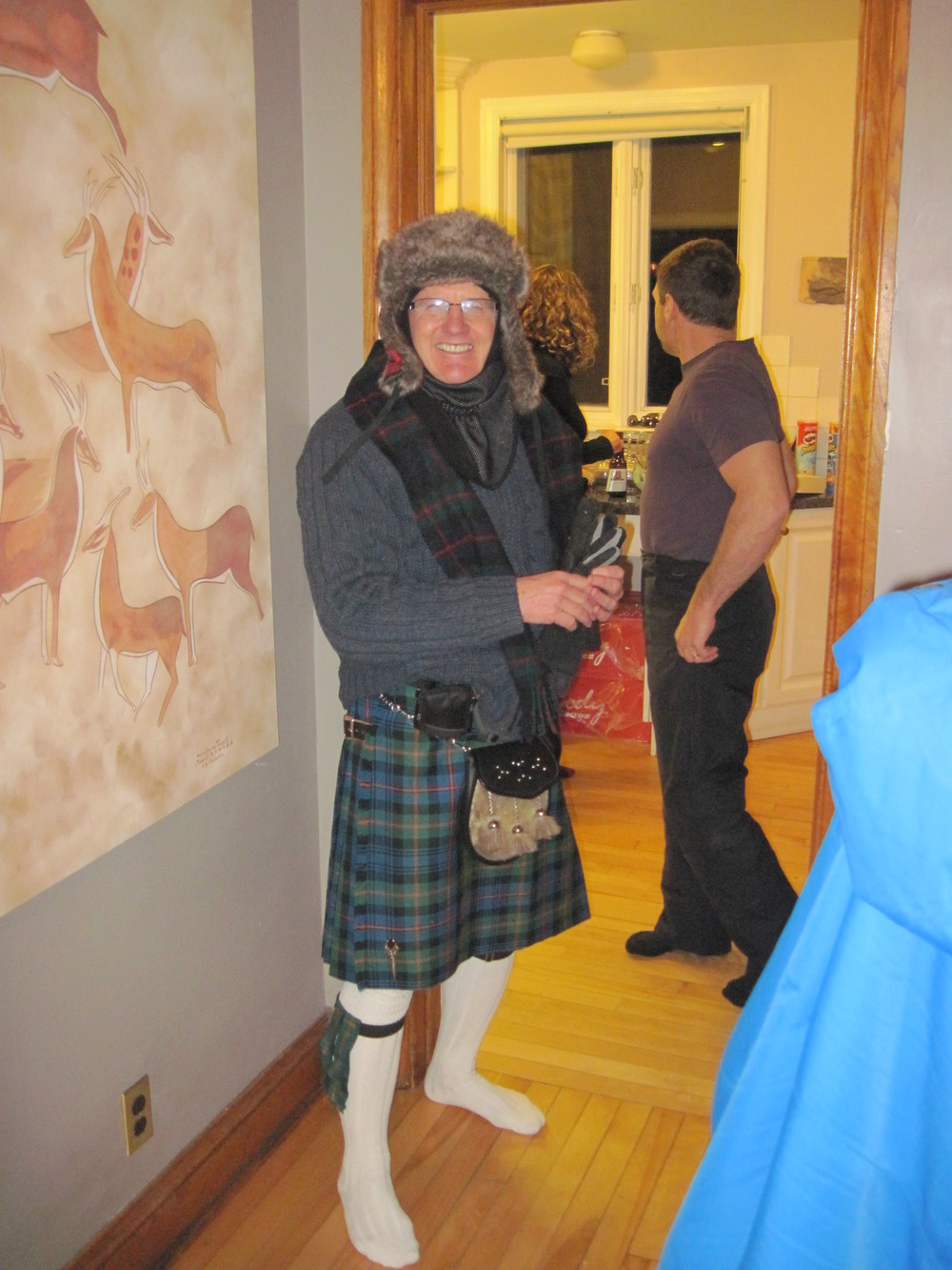 Getting ready for the kilt skate in January 2013 -- one of the coldest Sir John A house parties.