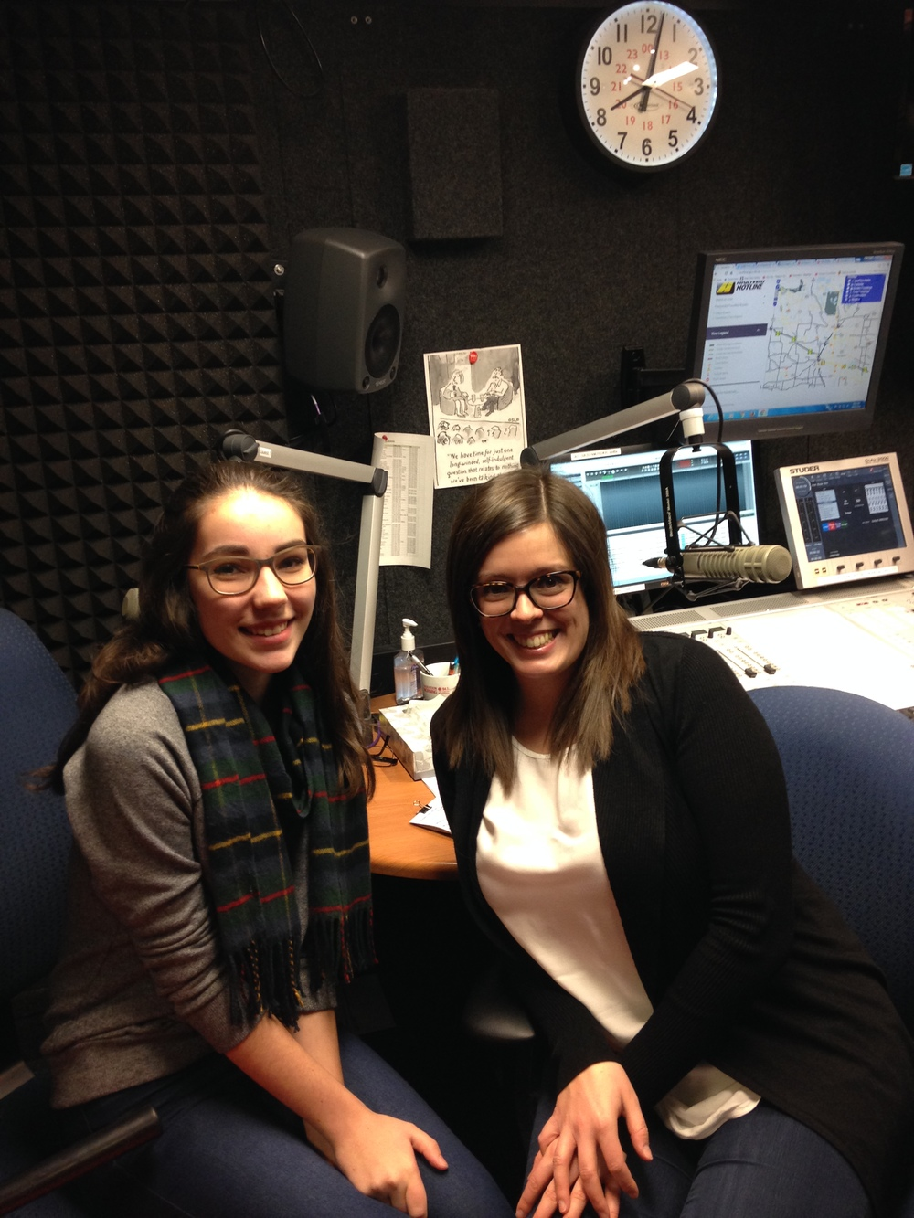 Katie with Radio-Canada host Estelle Cote-Sroka.