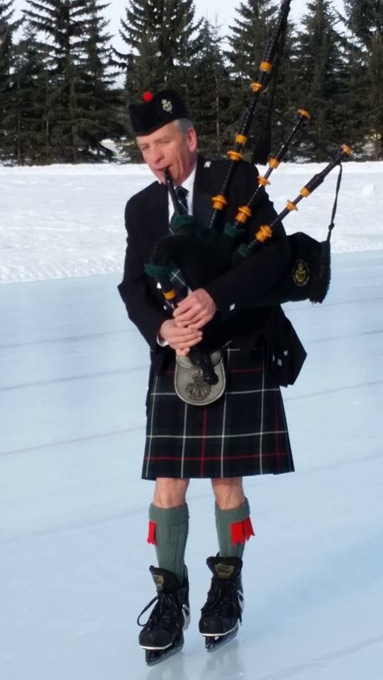 The intrepid Sandy Campbell plays the pipes in the subarctic cold of the 2015 skate.