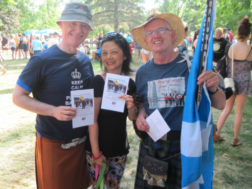 Someone who both runs in 30 above and skates in 30 below: Brian Lee Crowley of the  Macdonald Laurier Institute  shows the card with his kilt-skate picture.