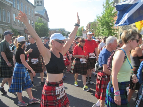 Hot, muggy weather does wilt the enthusiasm of kilt runners.