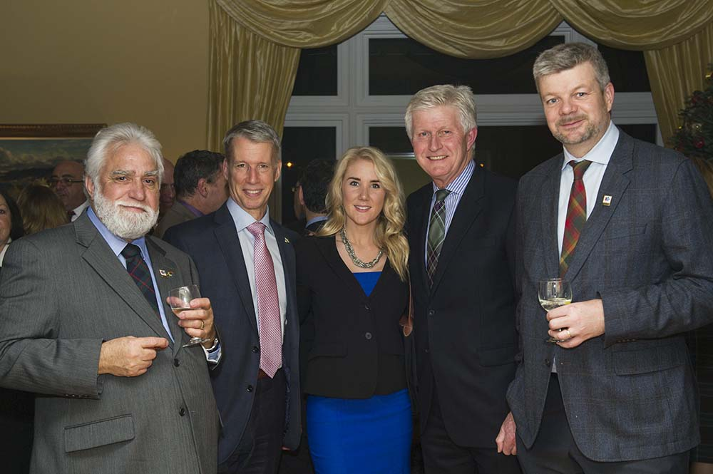 Richard Fleming (SSO), Hon. Andrew Leslie, Chief Government Whip, Erica Leslie, His Excellency Howard Drake, John Ivison (SSO).  Photo Roman Romanovich.