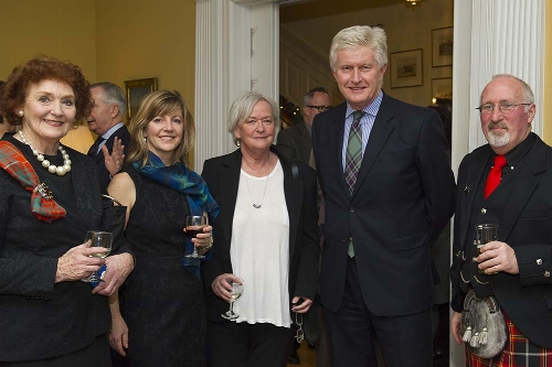 Mrs. Jenny Bruce of the Scottish Tapestry, with three SSO members -- Heather Theoret, Lynn Fleming, and Michael Cox -- and His Excellency, Howard Drake, our host. Photo: Roman Romanovich