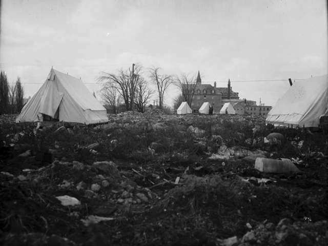 Smallpox tents are seen on Porter's Island in Ottawa in a photo believed to date from 1876. The island was used to keep typhoid and smallpox patients isolated from the rest of the city. National Archive