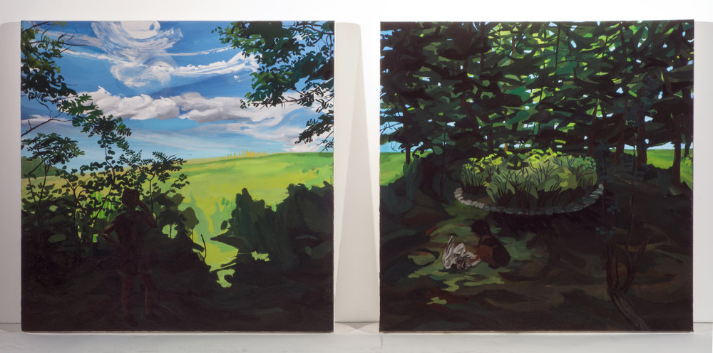 While Mom's on the Phone with God I Play Dead, 24in x 24in Diptych