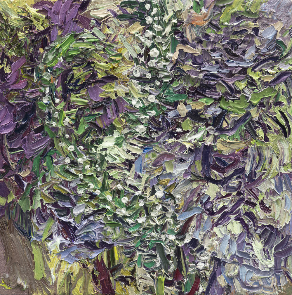 Gooseneck and Kale   10in x 10in, oil on linen, 2018