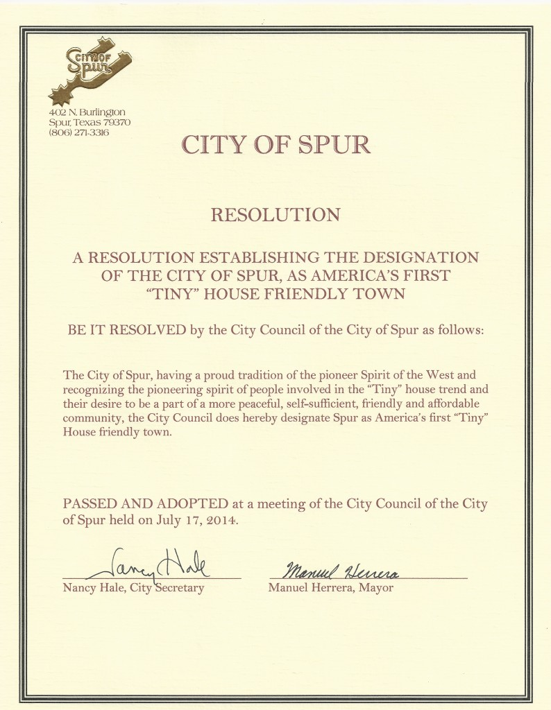 The official resolution establishing Spur as Tiny House friendly.
