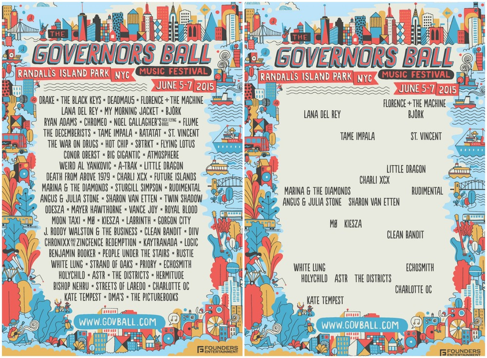 The 2015 Governors Ball lineup with the all-male acts removed.