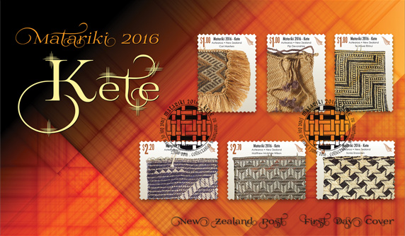 Issued to coincide with the dawn of the Māori New Year, the 2016 Matariki stamp issue examines the art form of kete; its origin, development and significance to te ao Māori (the Māori world).