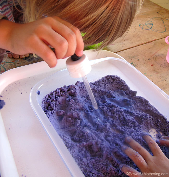 See powerfulmothering for alternative versions of Cloud Dough and activities