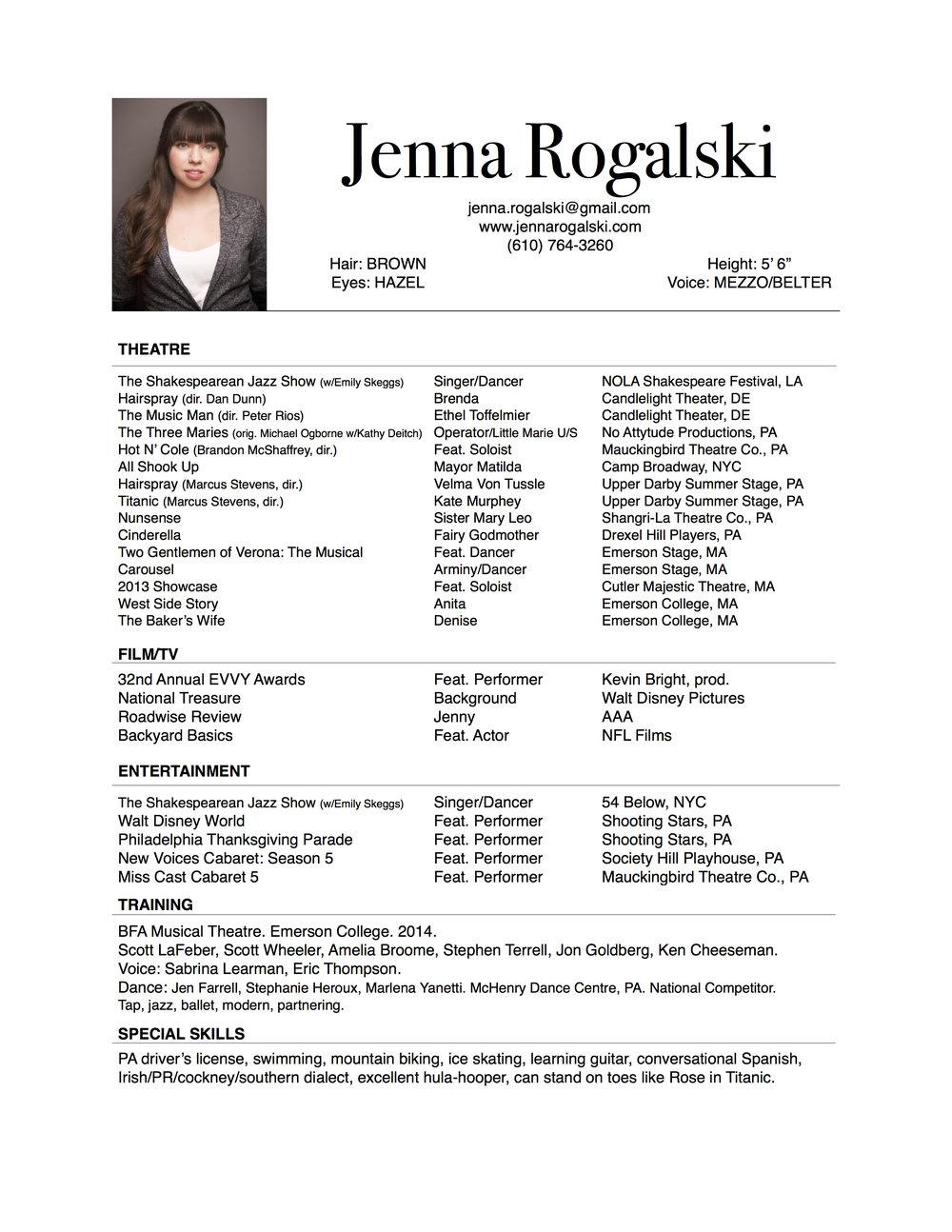 Resume Jenna Rogalski