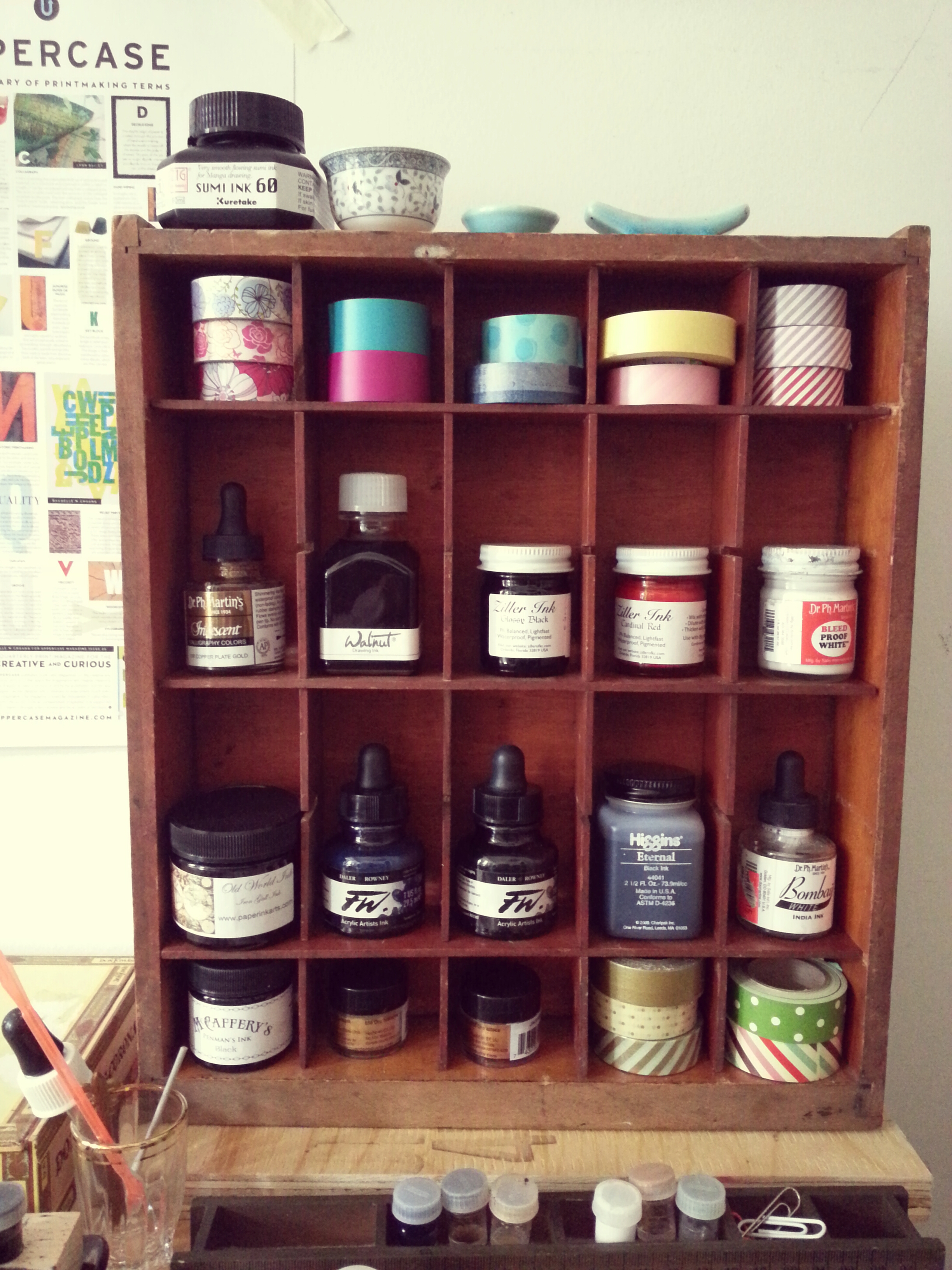 Inks and Washi tape all organized with my purchase from aberfoyle antique market