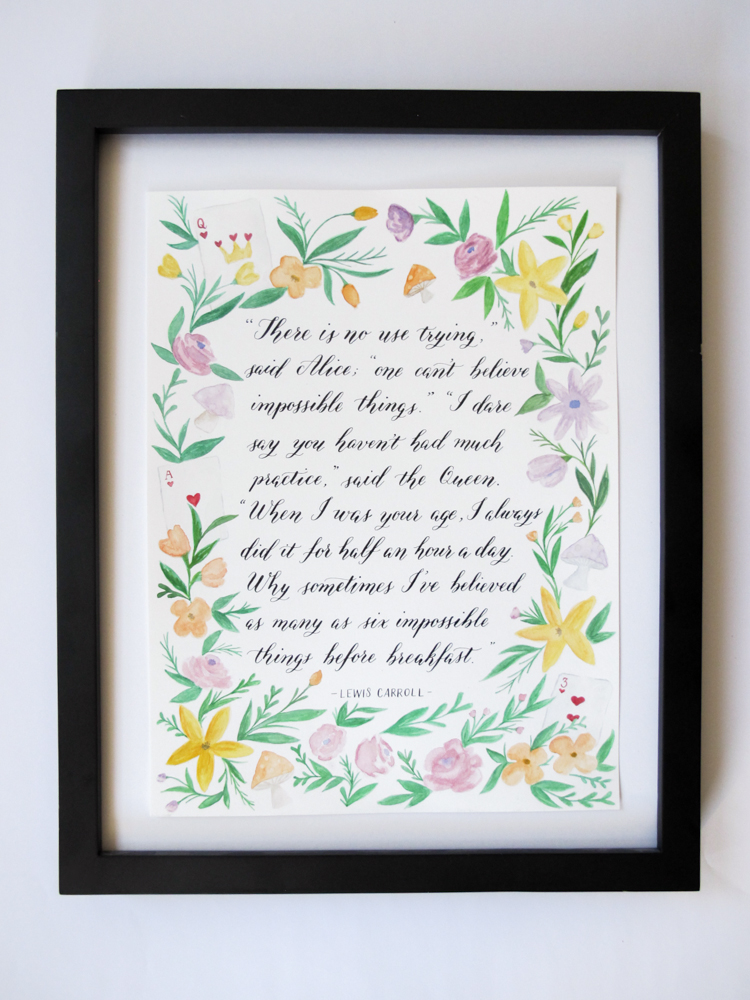 Alice in Wonderland Custom Quote & Watercolour illustration