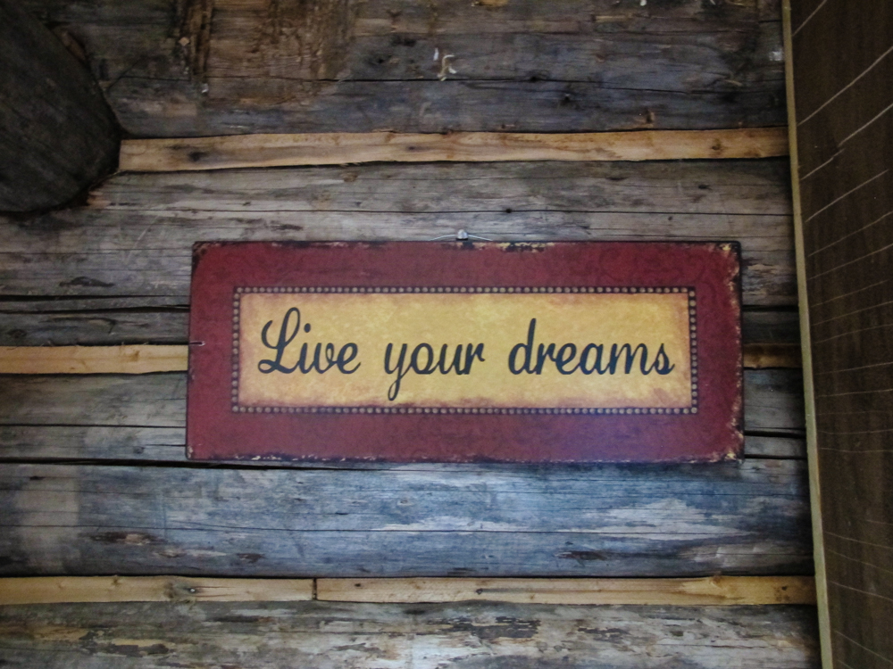 Live your Dreams- Cabin decor