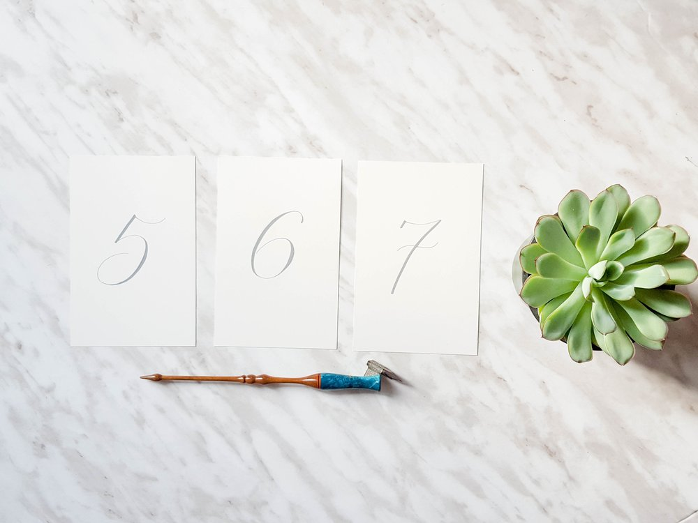 Grey Gouache on Ivory Table Numbers