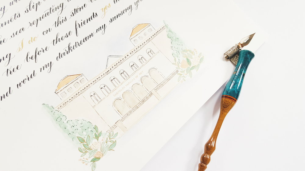Wedding Vows with watercolour illustration of venue