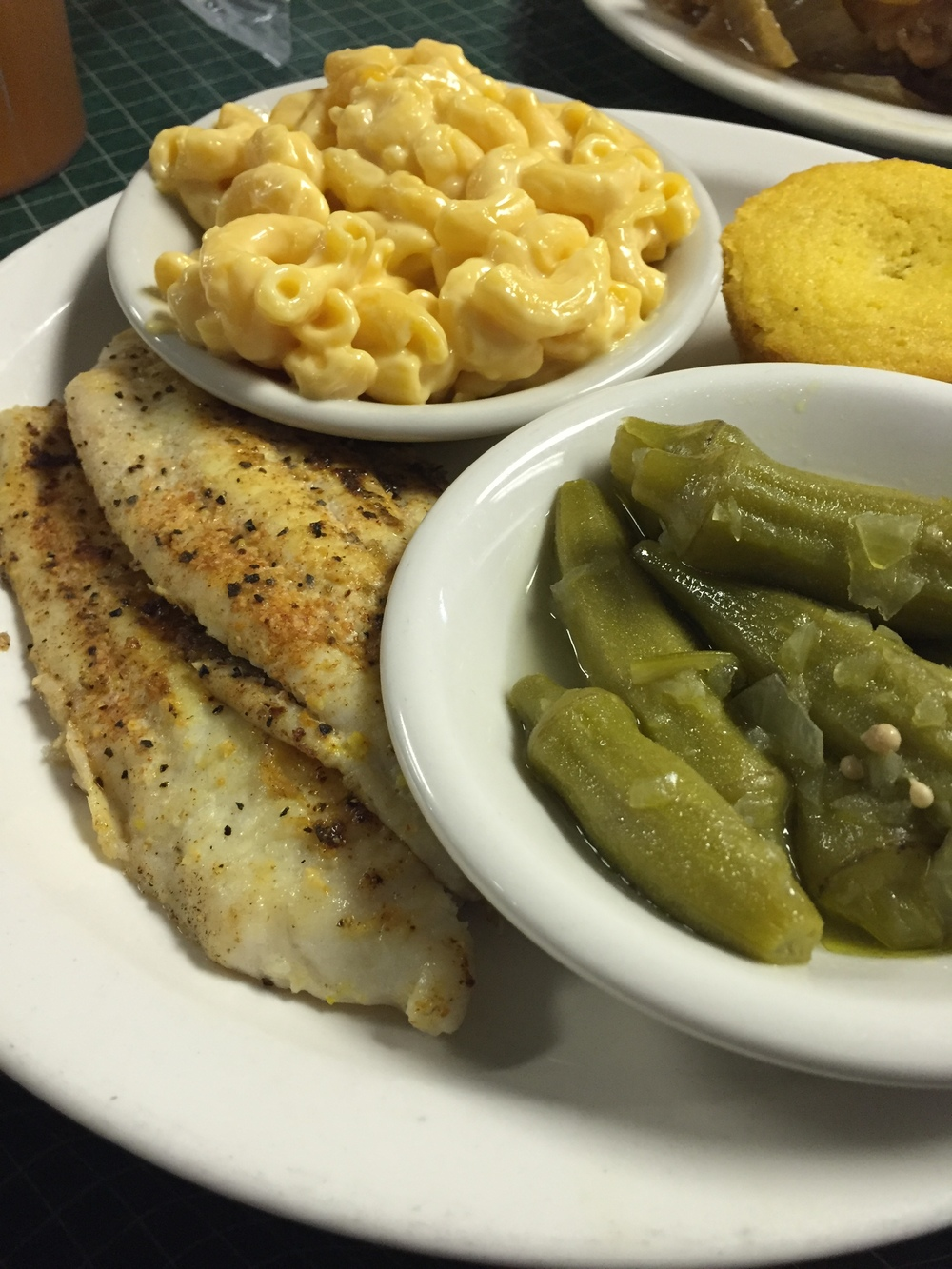 Baked catfish with mac and cheese and okra