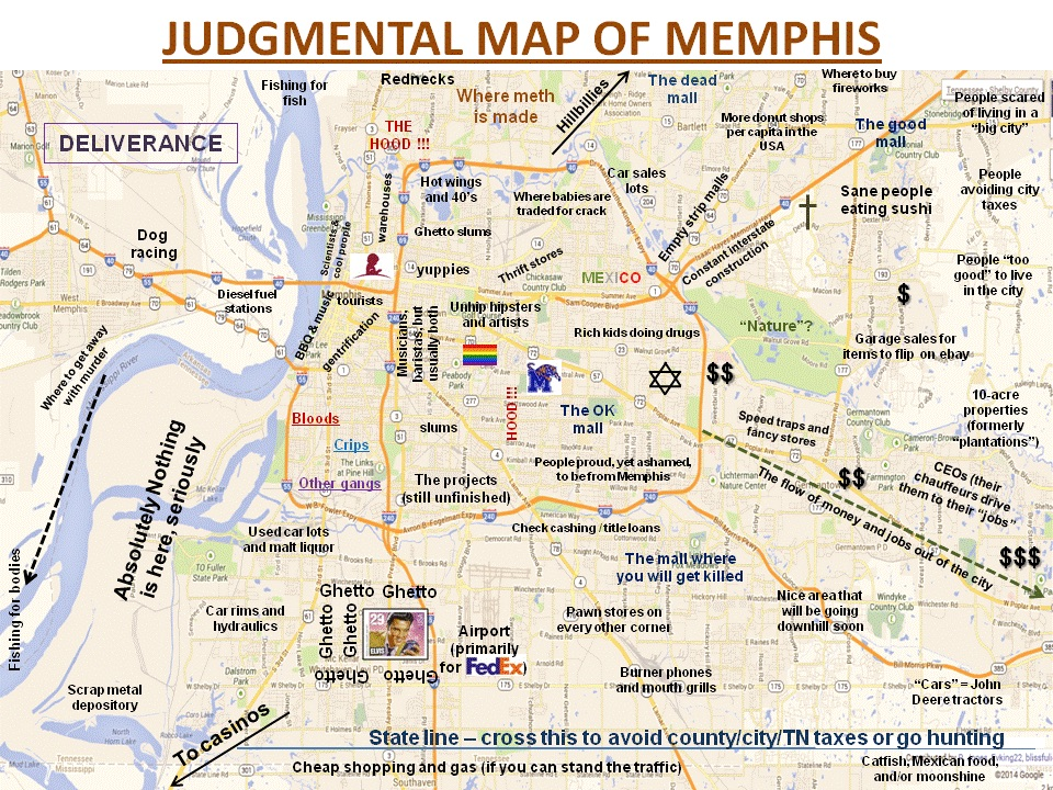 Judgemental Map Of Memphis The judgemental map of Memphis — one901
