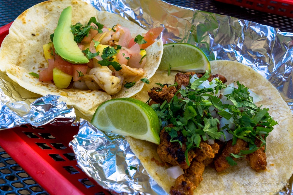 Garlic shrimp and Pastor tacos