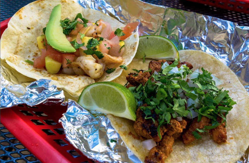 Garlic shrimp and spicy chicken tacos