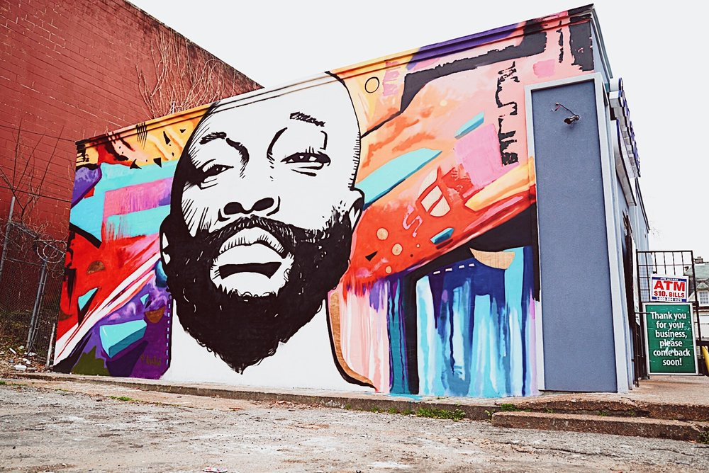 New Isaac Hayes mural by Jamond Bullock, @alivepaint