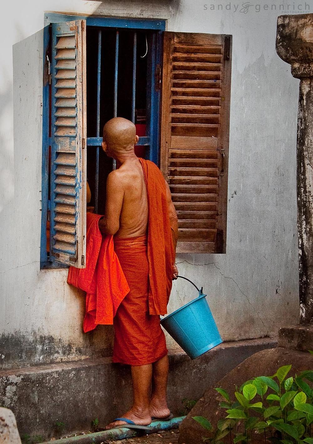 Bathing Monk - Wat Bakong Monastery - Siem Reap - Cambodia