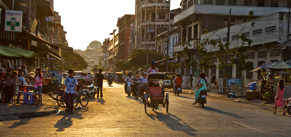 Sunset Downtown Phnom Penh Cambodia