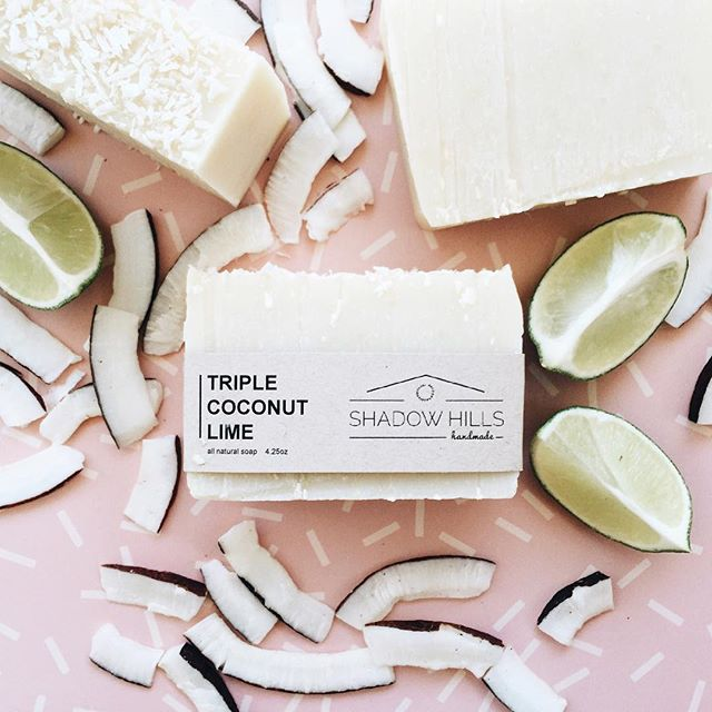 Triple coconut means we packed coconut oil, coconut milk and shredded coconut into this sweet lime soap. This bar is creamy yet lightly exfoliating and the aroma is pure tropical goodness! 🌴 We know you're going to love this one. Available Wednesday at 9am pacific!