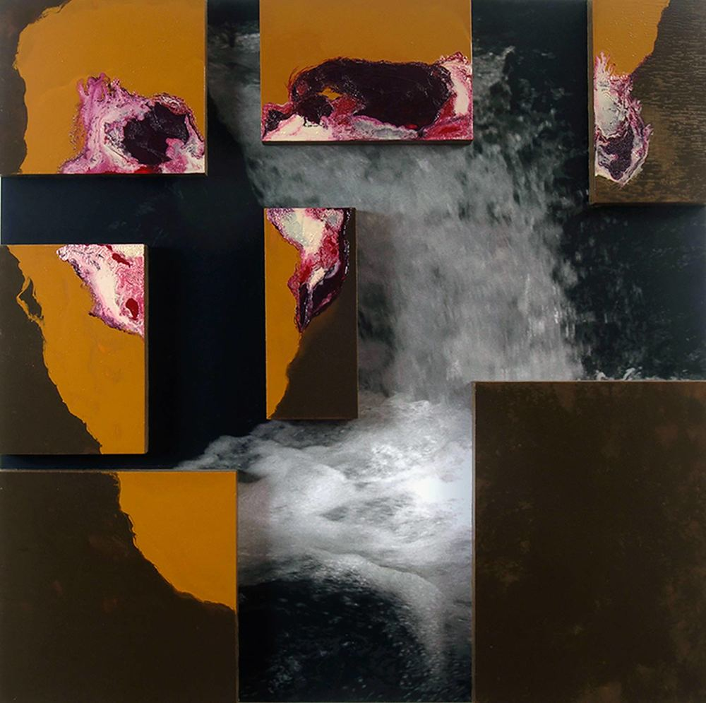 Mersion V, 2006, Oil and photo on panel, 48x48""