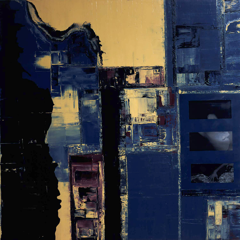 Scapes Vll, 2001 Oil, photo and encaustic on canvas, 48x48""