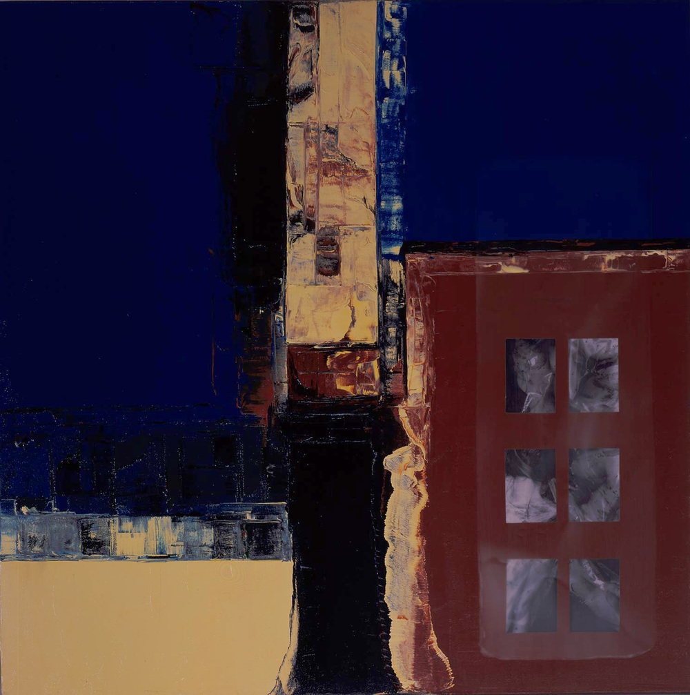Untitled 1999, Oil, paper and wax on panel, 48x48""