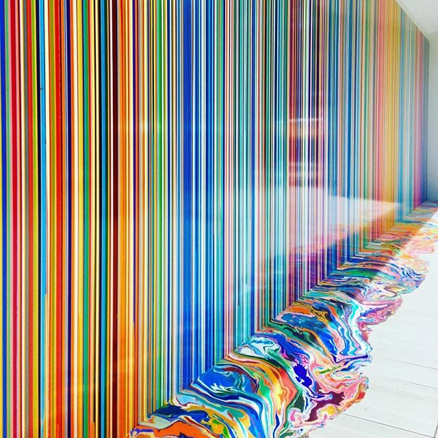 "#Repost @jenny_park_adam ・・・ Venice Biennale is a visual coup de théâtre every turn an artlover makes throughout the enchanting ancient city of Venice 😍 In the midst of national pavilions in Giardini, the pictured piece by British artist Ian Davenport's (@iandavenportofficial) color spectrum wall, entitled ""Giardini Colorfall"" (2017), was most stunning installation. Commissioned by Swatch the Swiss watch maker, the large scale wall painting on aluminum panel in bright chromatic color sequences, in vertical pour-down of paints, creating the pool of luscious colors extended to the floor.. #iandavenport #britishartist #giardinicolorfall #venicebiennale #venicebiennale2017 #swatchpavilion #giardini #color #colors #spectrum #colorpaint #colorpainting #chromatic #rainbow #wallpainting #artblog #artblogger #instaart #instaartist #instaartoftheday #instacool #instaplace"