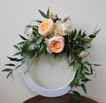 Circle bouquet with garden roses and greens