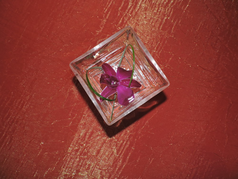 Floating orchid with grass accent in glass cube. The Exchange Hall, Acton, MA